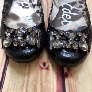 SAM EDELMAN Caper Jeweled Snakeskin Ballet Flats